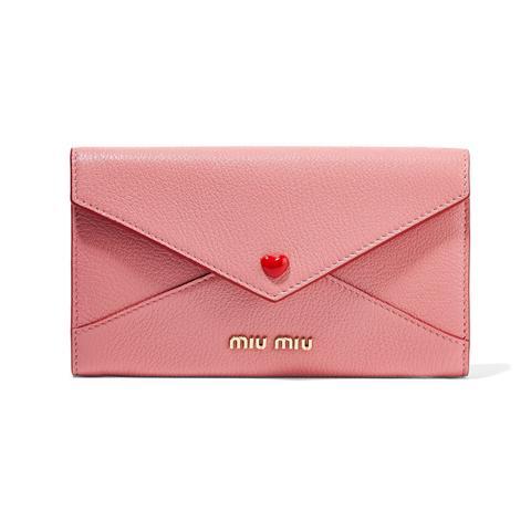 Envelope Textured-Leather Wallet