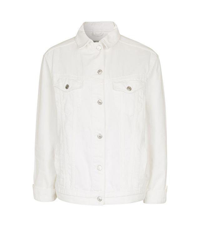Topshop Off White Oversize Denim Jacket