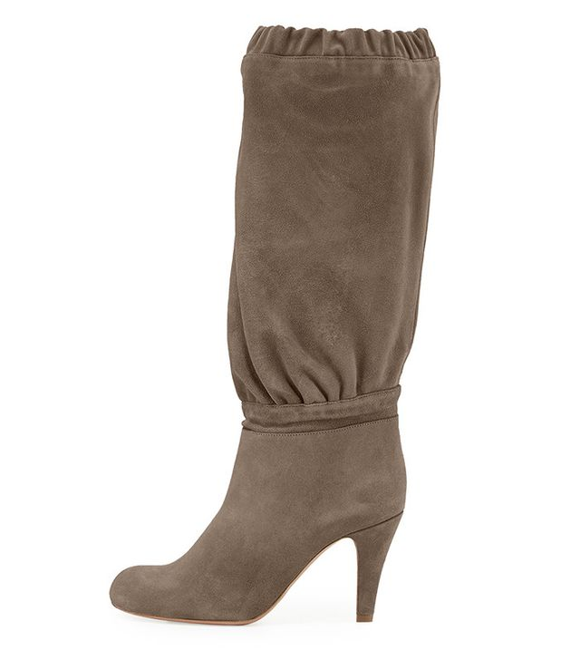 Chloé Suede 90mm Knee Boots in Ship Gray