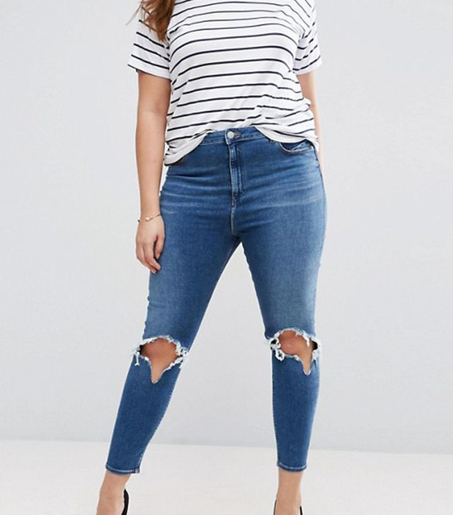 ASOS Curve High Waist Ridley Skinny Jean in Roy Darkwash With Rip & Busts