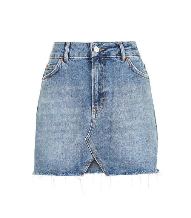 Topshop Cut Out Mini Denim Skirt