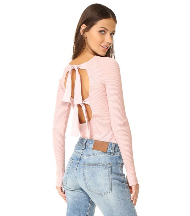 Elizabeth and James Fay Tie Back Long Sleeve Sweater