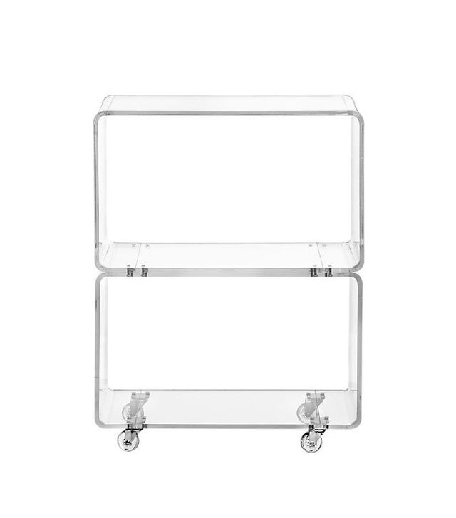 CB2 Peekaboo Acrylic Rolling Two Shelf