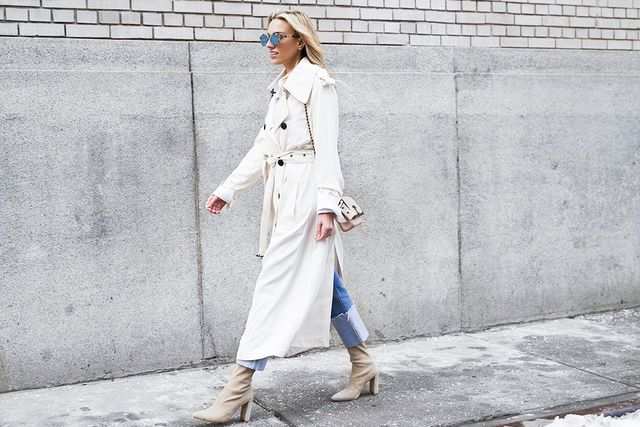 For spring, the military influence that took over in the fall takes a more neutral turn, where olives and khakis reign. Here, DiCicco Cahue opted for a trench coat and kept her color palette...