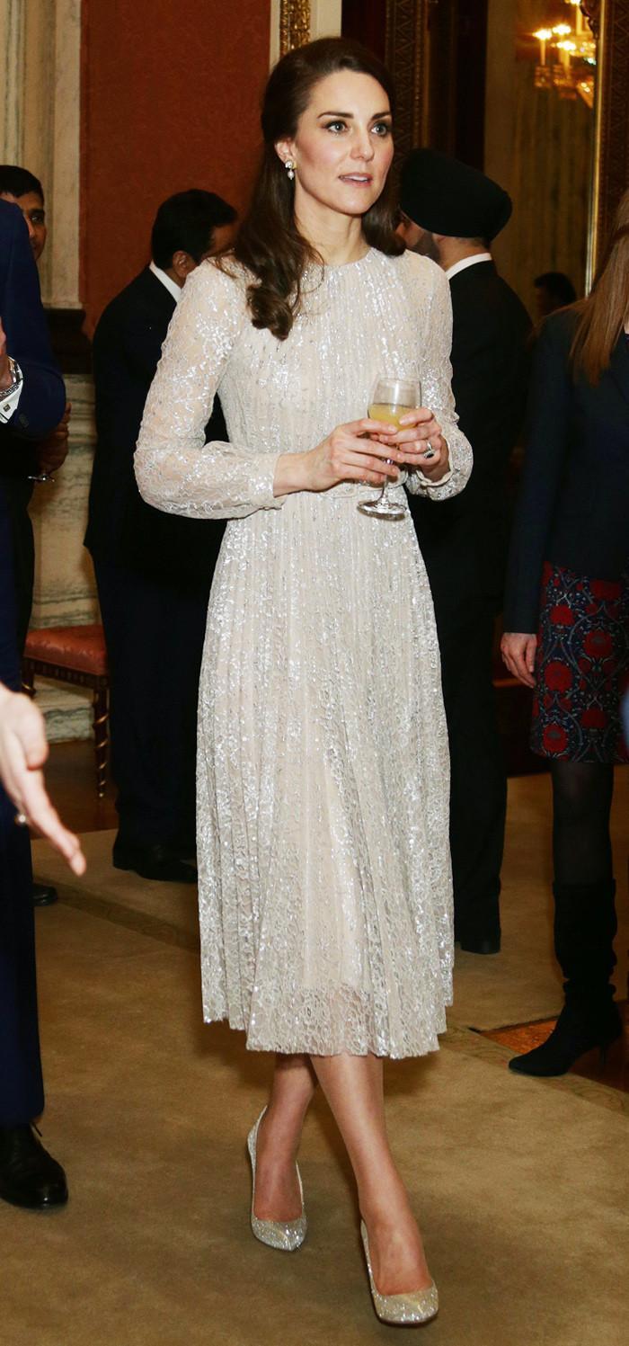 Duchess of Cambridge Oscar de la Renta Platinum Lamé Cabrina Pumps
