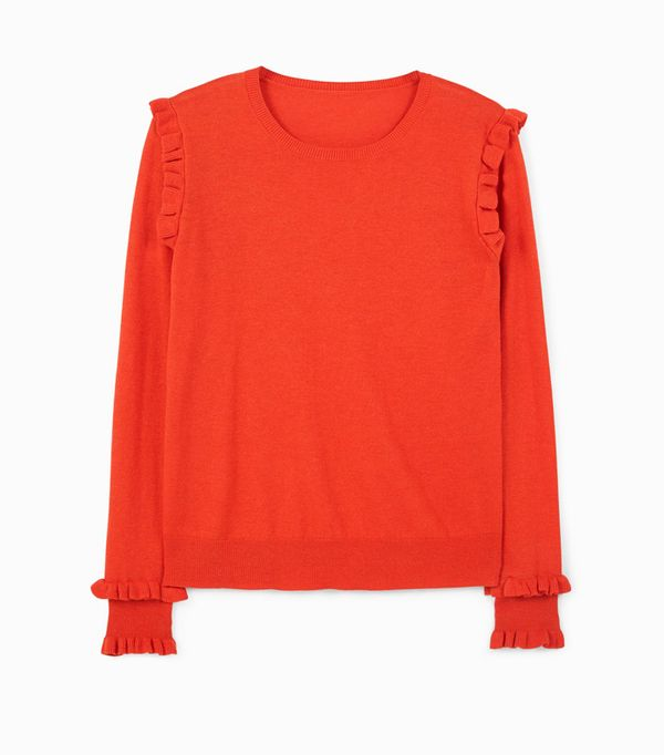 Mango Red Ruffled Cotton Sweater