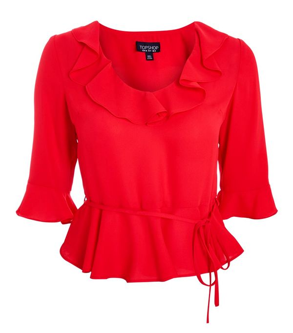 Colour That Suits All Skin Tones: Topshop Red Frill Blouse