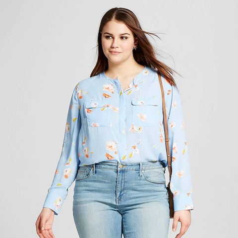 Plus Size Collarless Button Up Blouse