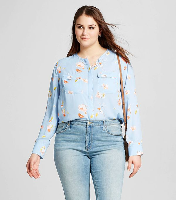 Who What Wear Plus Size Collarless Button Up Blouse