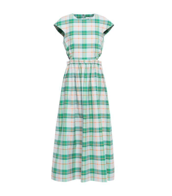 Tibi Cutout Gathered Checked Twill Midi Dress