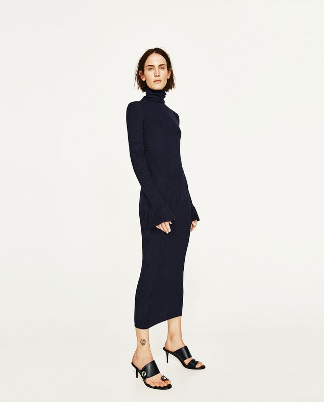 Zara Ribbed Dress With Flared Cuffs