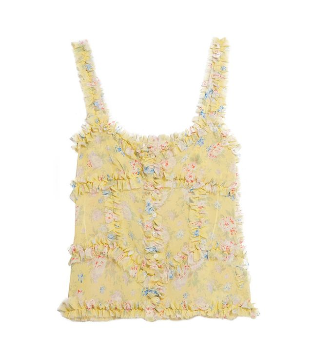 Attico Anna Fuffled Floral-Print Silk-Chiffon Camisole