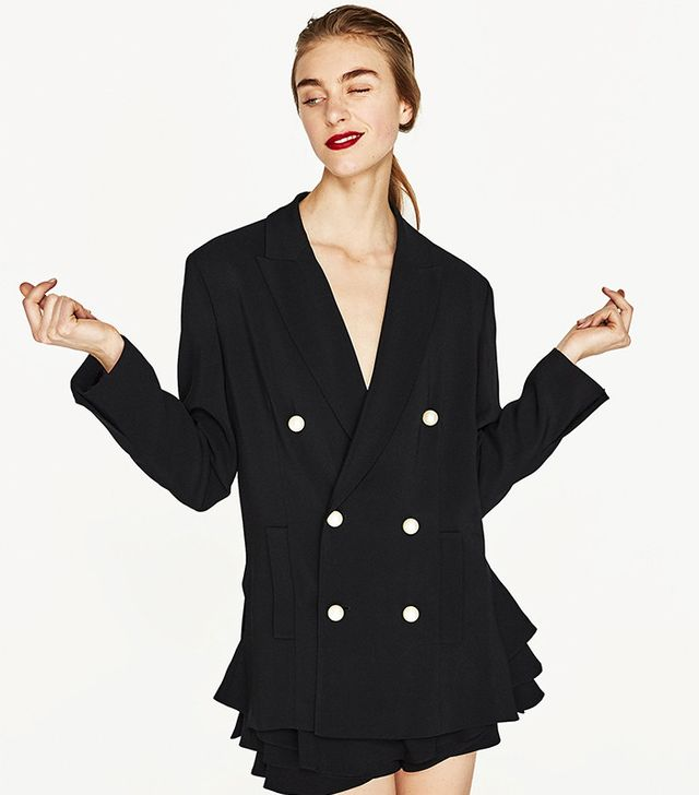 Zara Double Breasted Jacket with Pearl Beads