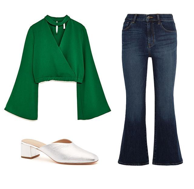 Pictured Above: Zara Belled Sleeve Top($30); J Brand Carolina Cropped High-Rise Flared Jeans($200); Loeffler Randall Lulu Mules($350).