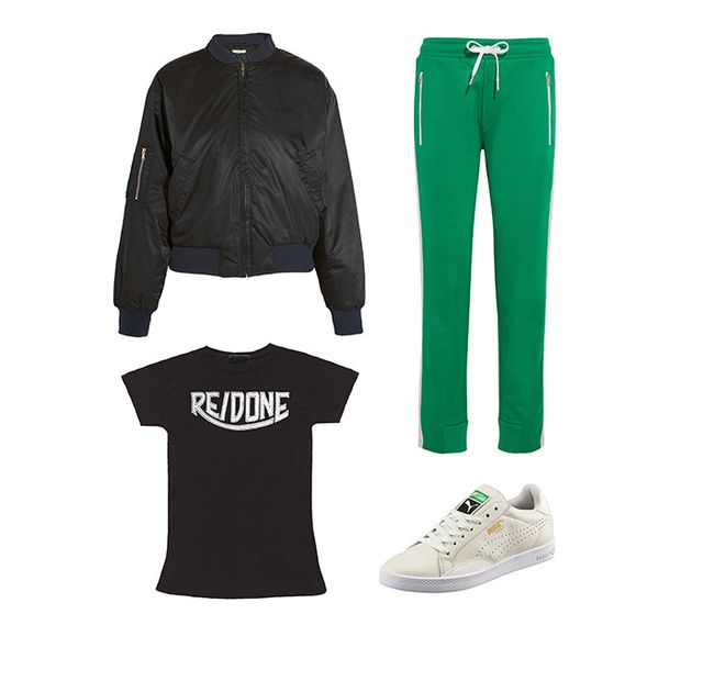 Pictured Above: Ganni Greenwood Shell Bomber Jacket ($260); Rag & Bone Mika Track Pants ($250); Puma Match Sneakers ($65); Re/Done Hanes 1970's Logo Tee ($90).