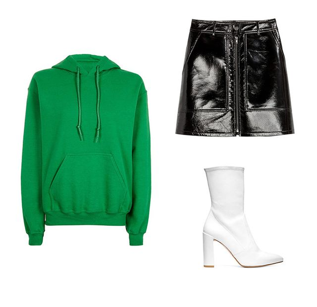 Pictured Above: Topshop Oversized Super Soft Hoodie ($50); H&M Patent Skirt ($50); Stuart Weitzman Clinger Boots ($598).