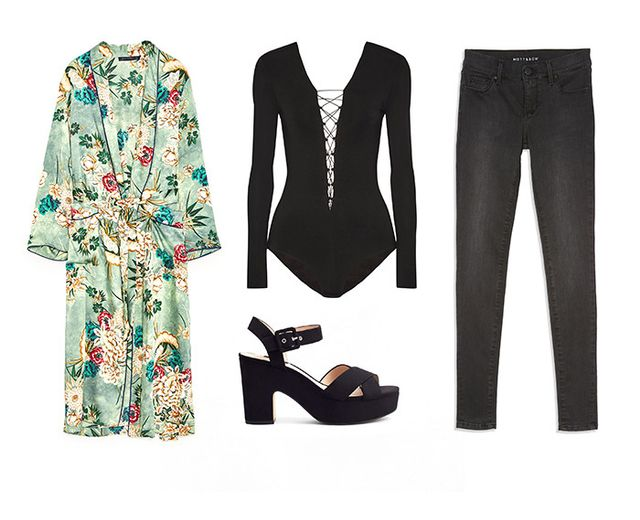 Pictured Above: Zara Printed Kimono ($129); T by Alexander Wang Lace-Up Bodysuit ($160); Mott & Bow High Rise Skinny Jeans in Orchard ($118); Mango Crossover Platform Sandals ($60).