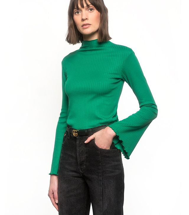 Pixie Market Green Bell Sleeve Top