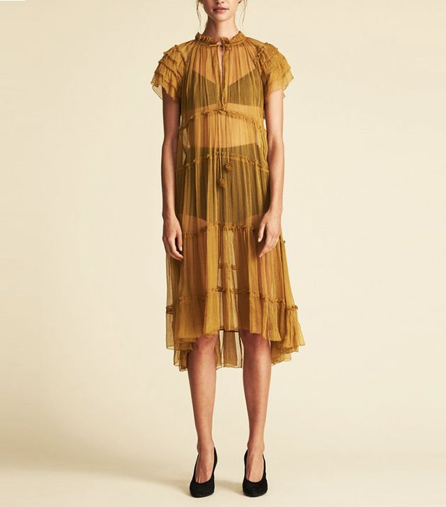 Lee Mathews Verity Frill Dress - Camel
