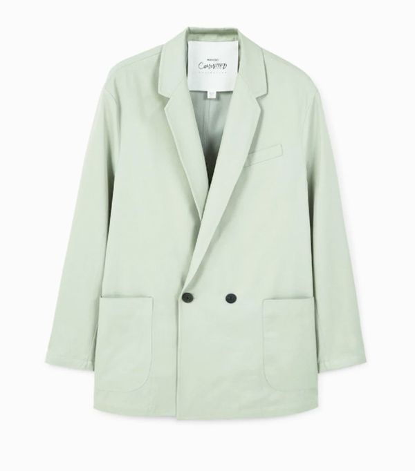 Mango sustainable collection: green suit jacket