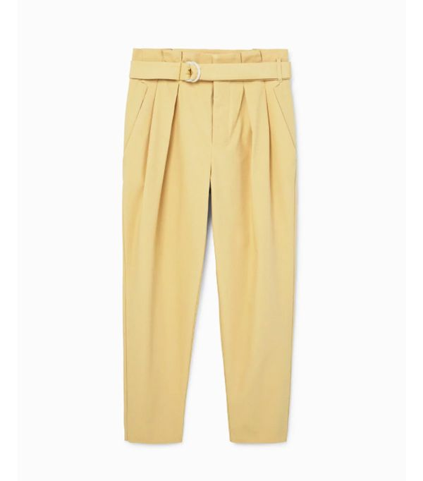 Mango sustainable collection: Yellow cotton trousers