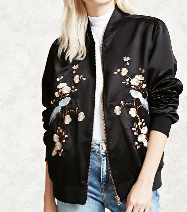 Forever 21 Embroidered Satin Jacket