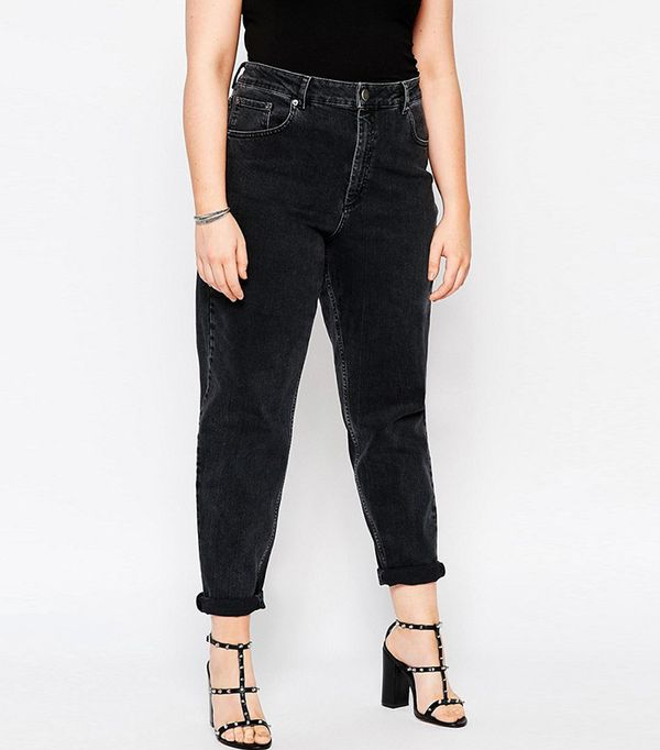 ASOS Curve Farleigh Mom Jeans in Washed Black