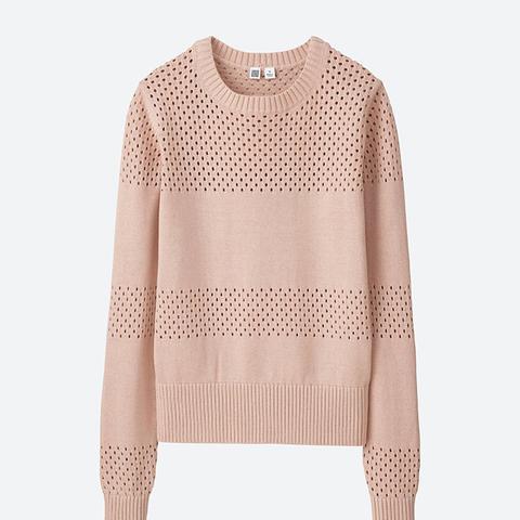 U Cotton Mesh Crewneck Sweater