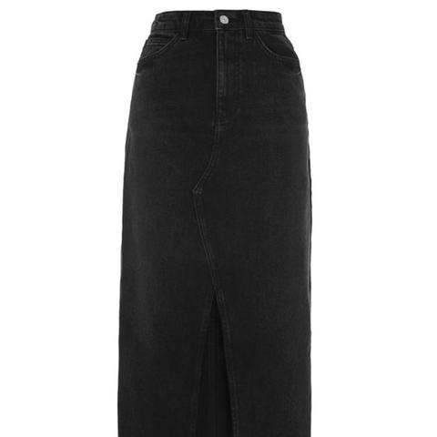 Moto Maxi Denim Skirt