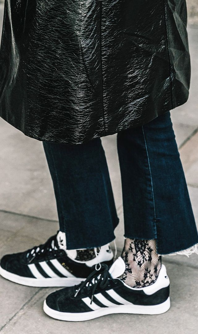 4. Wear a pair of stylish socks or fishnets for fresh feel.
