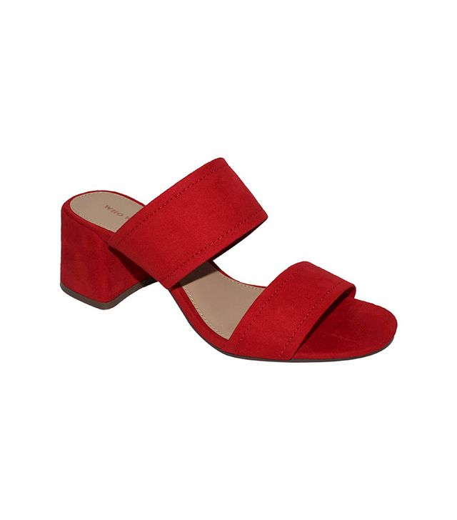 Who What Wear Carolina Double Band Block Heel Slide Sandals