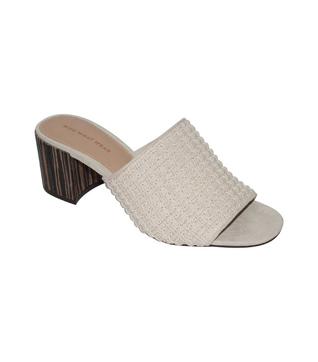 Who What Wear Felicity Macrame Strap Block Heel Slide Sandals