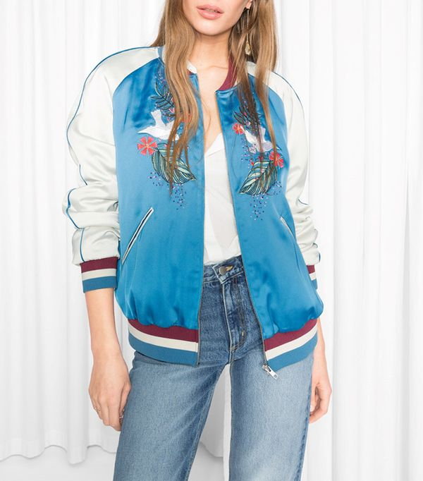 & Other Stories Embroidered Satin Bomber Jacket