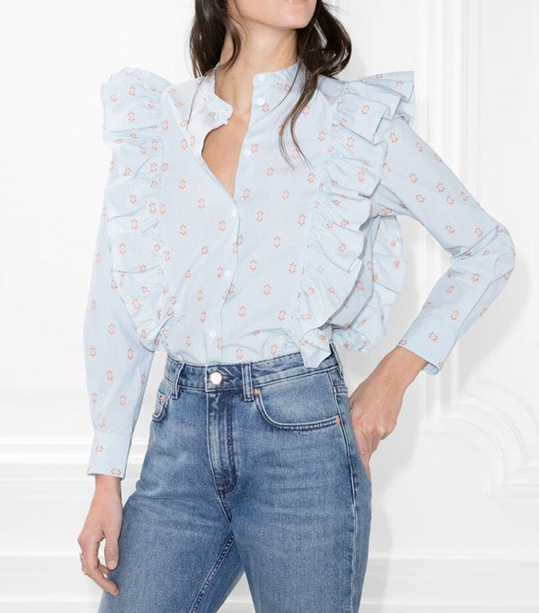 & Other Stories Frills Button Down Blouse