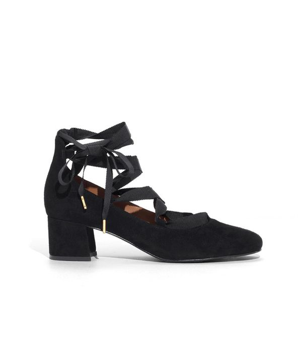 & Other Stories Suede Lace-Up Ballet Pumps