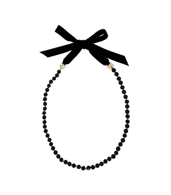 Chanel Vintage Beaded Logo Necklace