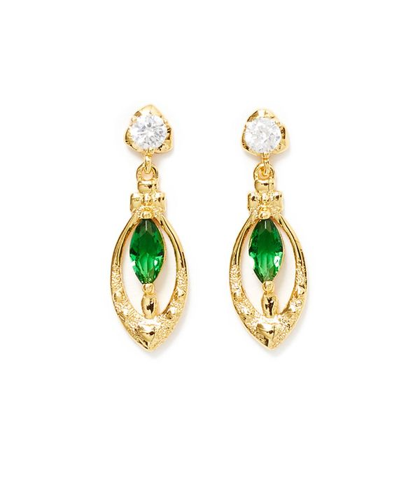 Reliquia Drop Heart Green Stone Earrings