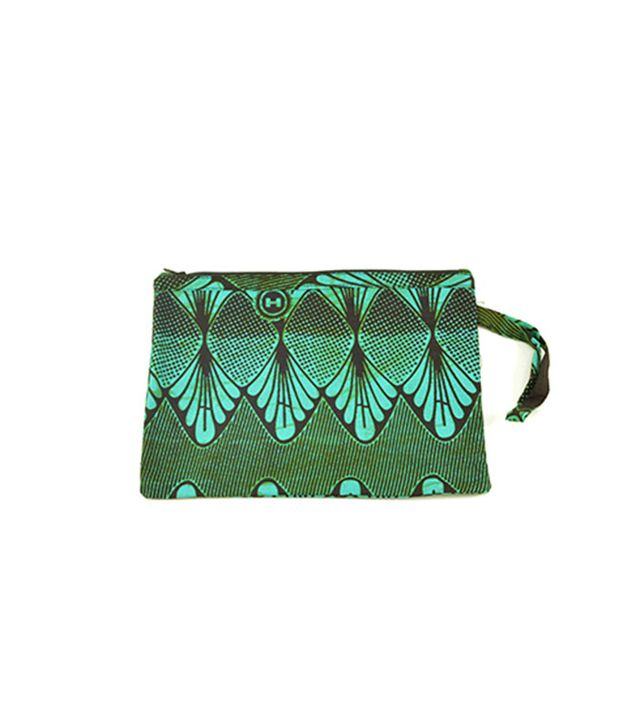 All Across Africa Teal Clutch