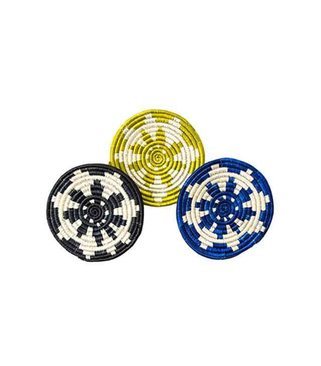 All Across Africa Black, Blue, Citron Hope Coaster Set of 6