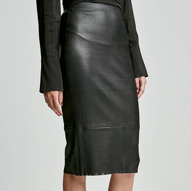 Scanlan Theodore Stretch Leather High Waisted Skirt