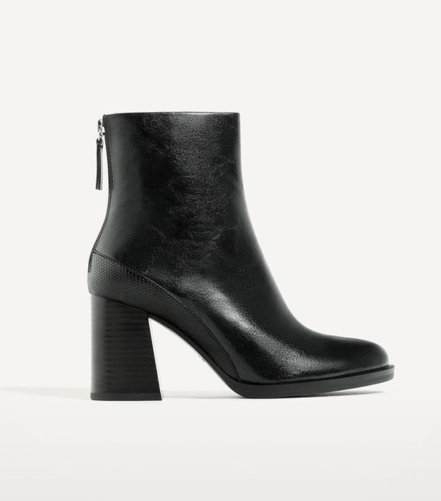 Zara Constrast High Heel Ankle Boots