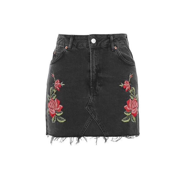 Topshop Black MOTO Rose Embroidered Skirt
