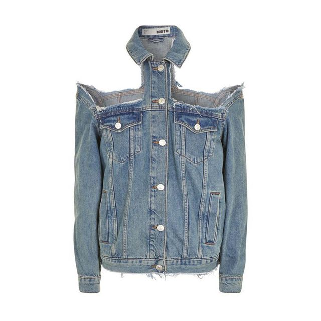 Topshop MOTO Extreme Cold Shoulder Denim Jacket