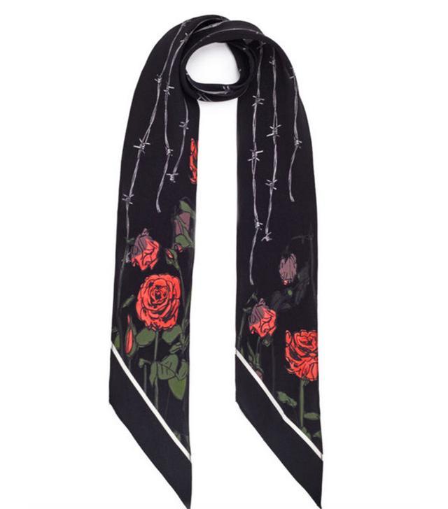 Rockins Black Roses Silk Skinny Scarf
