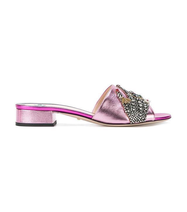 Gucci Crystal Hand Applique Sandals