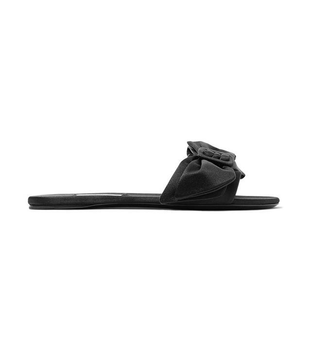 Prada Bow-Embellished Satin Slides
