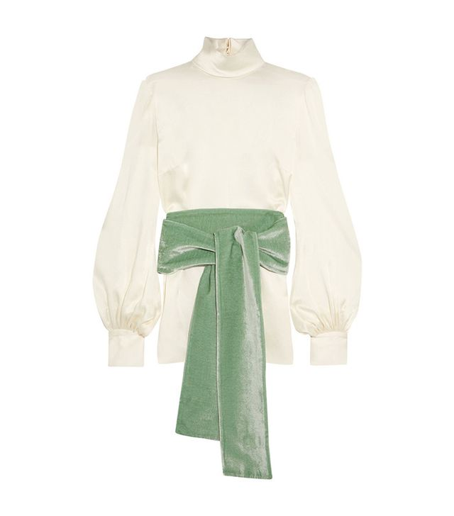 Hiller Bartley Silk-satin and Velvet Turtleneck Top