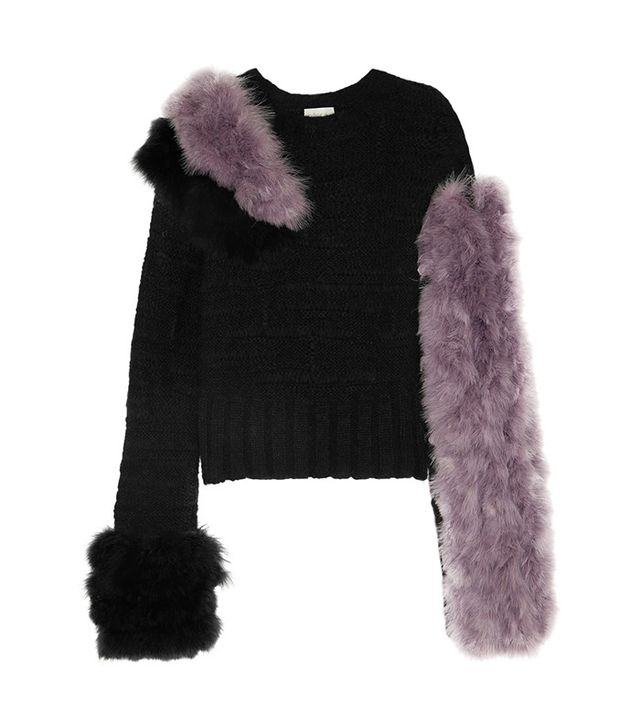 Hiller Bartley Feather-embellished Mohair-blend Sweater