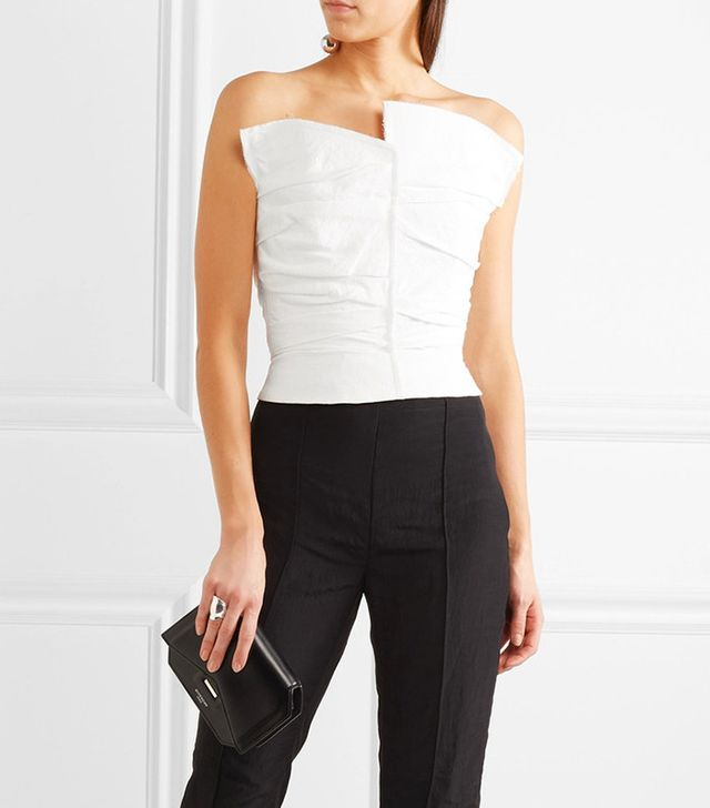 Carmen March Frayed Taffeta Bustier Top