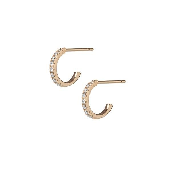 Aurate Huggie Earrings with White Diamonds